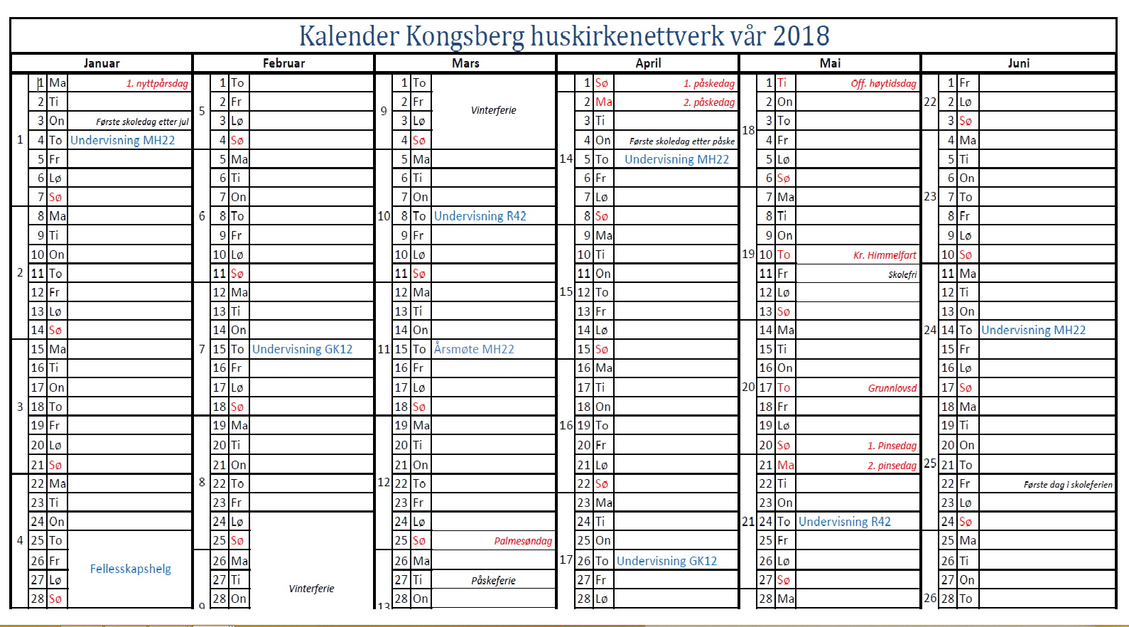 kalender Kongsberg huskirkenettverk våren 2018